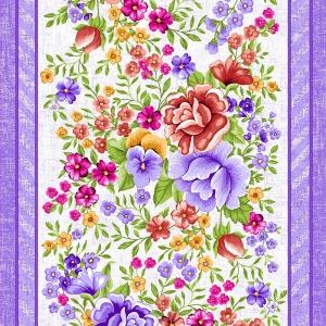 Ткань на отрез вафельное полотно 50 см 5618/2 Цветочная вышивка