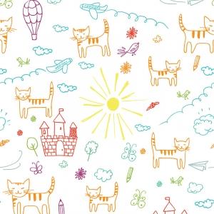 Ткань на отрез бязь 120 гр/м2 детская 150 см 7689 Кошкин дом