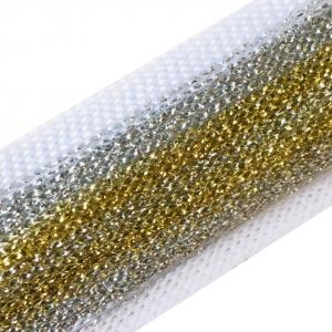 Лампасы №96 белый люрекс золото серебро 2.5см 1 метр