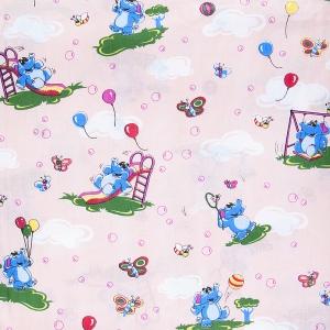 Бязь ГОСТ детская 150 см 315/4 Слоны с шариками цвет персиковый