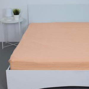 Простынь на резинке страйп-сатин 113 цвет персиковый 160*200*20 см