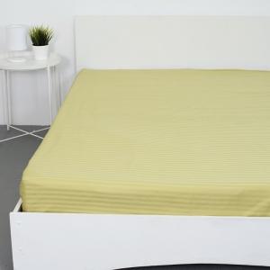 Простынь на резинке страйп-сатин 312 цвет фисташковый 140*200*20 см