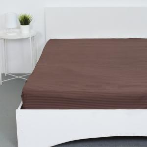 Простынь на резинке страйп-сатин 896 цвет шоколадный 140*200*20 см