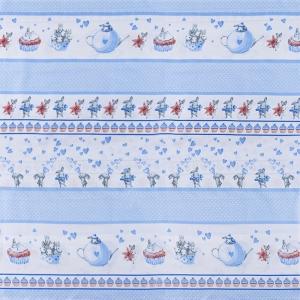 Бязь 120 гр/м2 детская 150 см 9412 Зайчата купон голубые