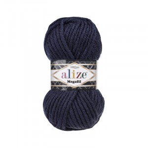 Пряжа ALIZE SUPERLANA MEGAFIL 58-темно-синий (25% шерсть 75% акрил)