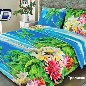 Ткань на отрез бязь о/м 120 гр/м2 150 см 318/1 Тропики цвет голубой