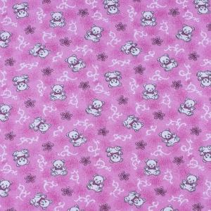 Ткань на отрез фланель 80 см 18079/3 Мишки цвет розовый