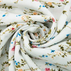 Ткань на отрез штапель 150 см D039 Кустовая роза на белом