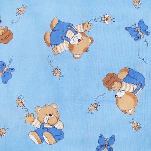 Ткань на отрез бязь ГОСТ детская 150 см 1332/1 За медом цвет голубой