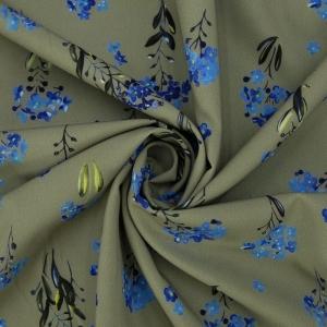 Ткань на отрез ниагара 150 см D056 Синие цветы на зеленом