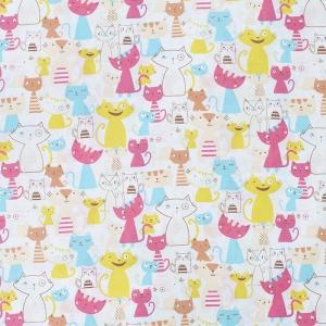 Ткань на отрез бязь плательная 150 см 2103/1 Веселые котята