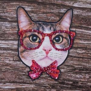 Декоративный  элемент пришивной Кот в очках 21*27 см