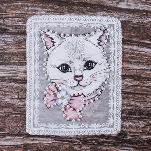 Декоративный  элемент пришивной Кошка с цветком 19*23,5 см