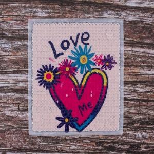 Декоративный  элемент пришивной Сердце Love 19*23 см