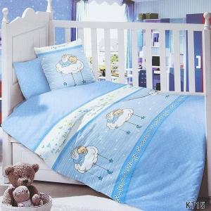 Постельное белье в детскую кроватку с простыней на резинке KT15 сатин
