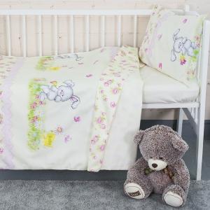 Постельное белье в детскую кроватку с простыней на резинке KT34 сатин