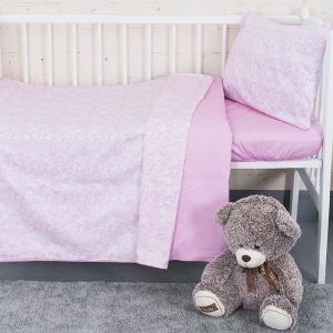 Постельное белье в детскую кроватку с простыней на резинке KT36 сатин