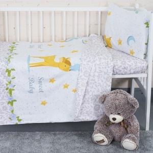 Постельное белье в детскую кроватку с простыней на резинке KT32 сатин