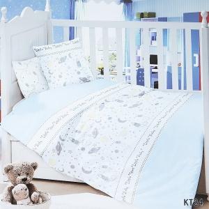Постельное белье в детскую кроватку с простыней на резинке KT24 сатин