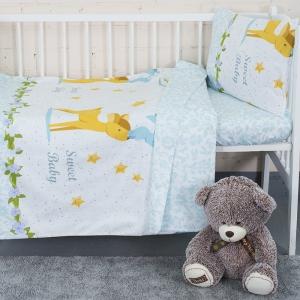 Постельное белье в детскую кроватку с простыней на резинке KT33 сатин