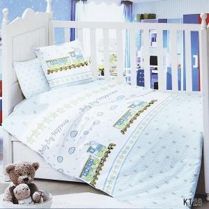 Постельное белье в детскую кроватку с простыней на резинке KT28 сатин