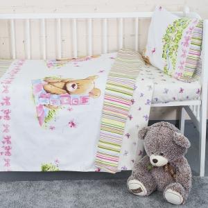 Постельное белье в детскую кроватку с простыней на резинке KT35 сатин