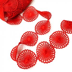 Кружево гипюр 4 см красный 2258 1 ярд
