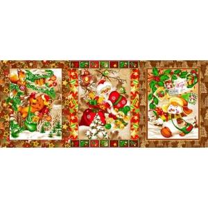 Ткань на отрез вафельное полотно набивное 150 см 597/3п цвет коричневый