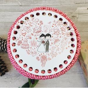 Круглое донышко с печатью Wedding 15см