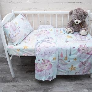 Постельное белье в детскую кроватку из перкаля 13249/1 с простыней на резинке 160/80/15