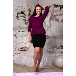 Платье Ирэн однотонное сирень+черный Д425 р 54