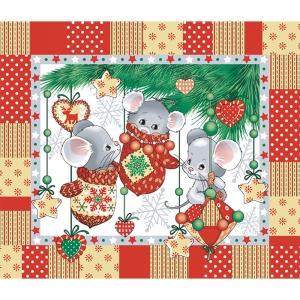 Ткань на отрез вафельное полотно 50 см 170 гр/м2 204441 Веселые мышата