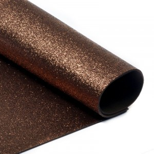 Фоамиран глиттерный 2 мм 20/30 см уп 10 шт MG.GLIT.H014 цвет коричневый