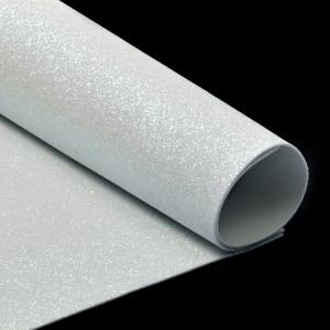 Фоамиран глиттерный 2 мм 20/30 см уп 10 шт MG.GLIT.H020 цвет белый