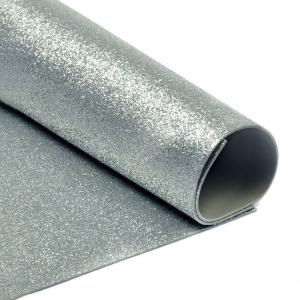 Фоамиран глиттерный 2 мм 20/30 см уп 10 шт MG.GLIT.H024 цвет серебро