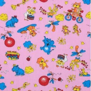Ткань на отрез бязь ГОСТ детская 150 см 42/3 Зоопарк цвет розовый