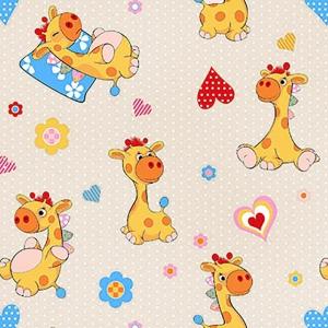 Ткань на отрез поплин 150 см 1644/1 Жирафики цвет бежевый