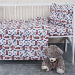 Постельное белье в детскую кроватку из поплина 1867 с простыней на резинке