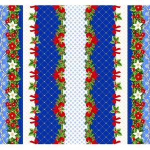 Вафельное полотно набивное 150 см 454-1 Новогодний цвет синий