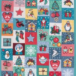 Ткань на отрез вафельное полотно 50 см 5595/1 Новогодние подарки