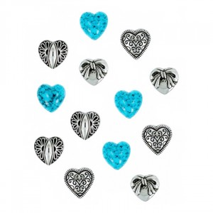 Набор пуговиц JESSE JAMES 0181 Серебряные сердца 1 упак