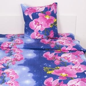 Постельное белье бязь ГОСТ 306/1 Орхидеи цвет синий 1.5 сп с 1-ой нав. 70/70