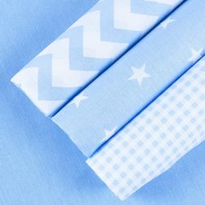 Набор отрезов ткани 50/50 +/- 5 см 4 шт 114 цвет голубой