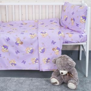 Постельное белье в детскую кроватку из бязи 1332/3 За медом сиреневый с простыней на резинке