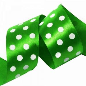 Лента атласная горох ширина 50 мм (27,4 м) цвет 579029 зеленый-белый