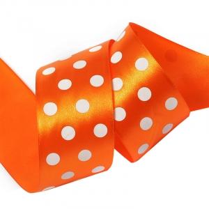 Лента атласная горох ширина 50 мм (27,4 м) цвет 668029 оранжевый-белый