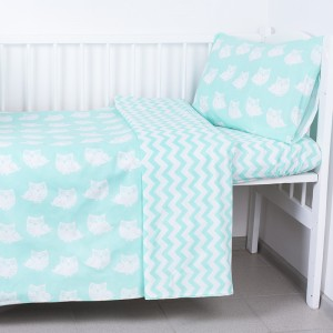Постельное белье в детскую кроватку из бязи 106 Совы мята