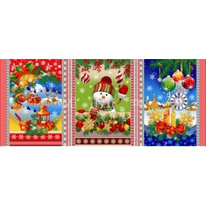 Ткань на отрез вафельное полотно набивное 150 см 11492/1 Новогодняя сказка