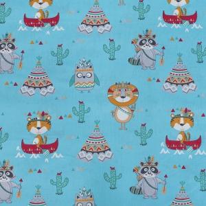 Ткань на отрез бязь ГОСТ Шуя 150 см 20102/1 Индейцы цвет голубой