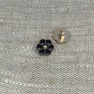 Пуговица ПР184 11 мм черная цветок уп 12 шт
